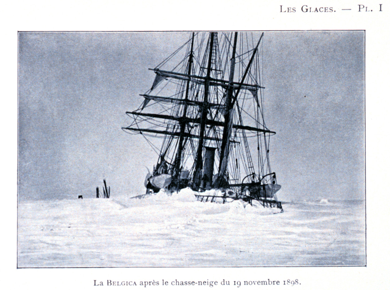 La Belgica trapped in Antarctic sea-ice in an enforced winter, picture courtesy NOAA
