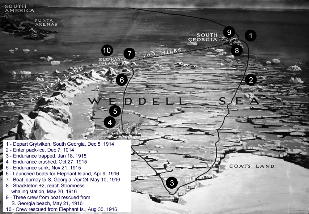 Shackleton Endurance Voyage Timeline And Map