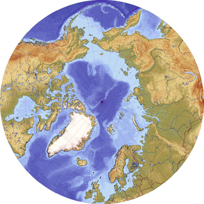 The Arctic centered on the North Pole Sea surrounded by land