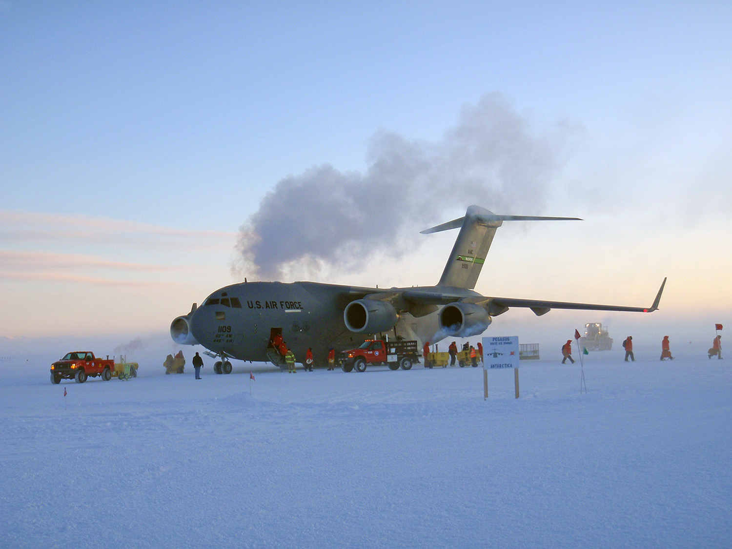 C-17 arriving at Pegasus Field Antarctica