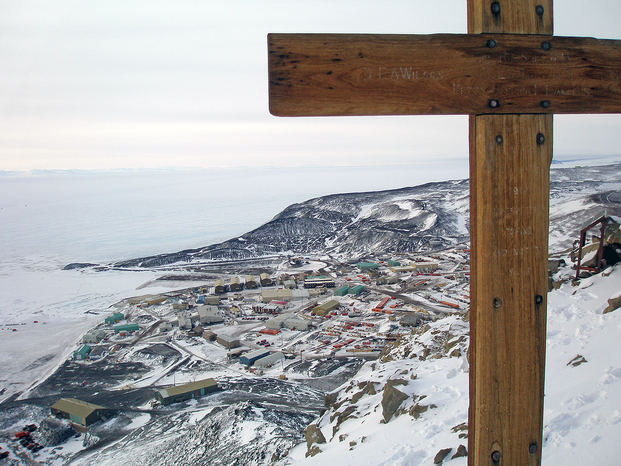 memorial cross erected to Captain Scott and his South Pole team