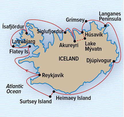 Map Of Canada Greenland And Iceland.Iceland Circumnavigation Arctic Cruise