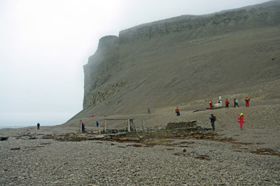 The Remains of Northumberland House Beechey Island Showing the Memorial and Cliff Behind