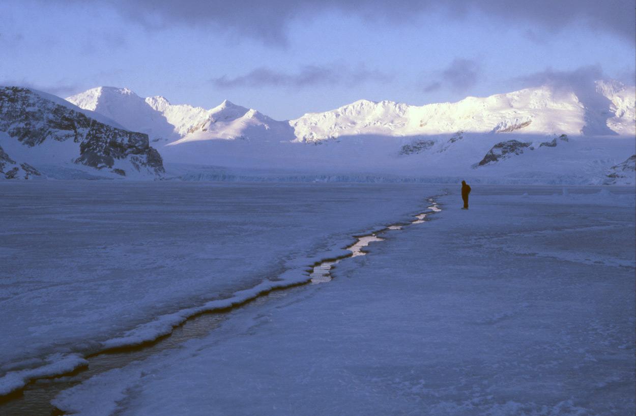 Tide crack in sea ice antarctica