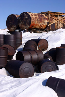 abandoned oil drums Leningradskaya base Oates Land