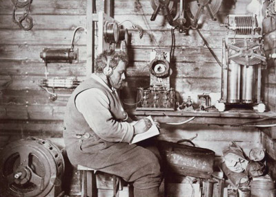 Walter Hannam at the wireless equipment
