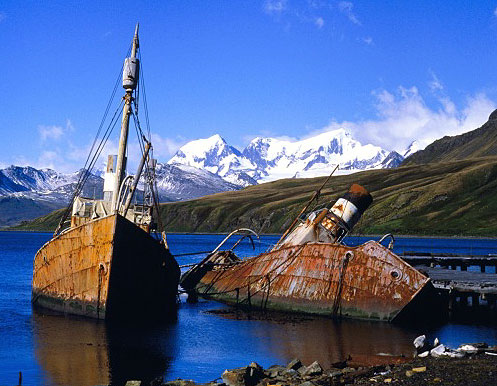 Abandoned whaling boats at Grytviken - South Georgia. Photo courtesy NOAA