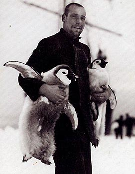 Hudson with two Emperor penguin chicks, these soon found their way onto the menu
