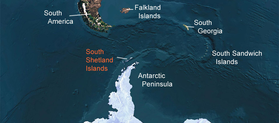 The South Shetland Islands off the Antarctic Peninsula